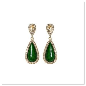 Crystal & Evergreen Teardrop Earrings